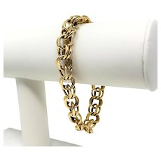 14k Solid Yellow Gold Vintage Double Link 34.6g Charm Bracelet 7.5 Inches