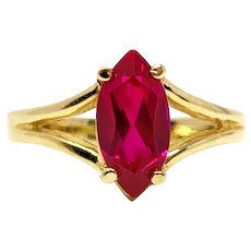 14k Yellow Gold 1.02ct Solitaire Marquise Cut Ruby Ring Size 5.5