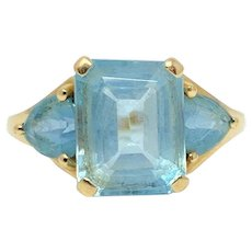 10k Yellow Gold 4.7ct Emerald Cut Blue Topaz Ring Size 7
