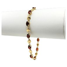 14k Yellow Gold and Garnet Heart Link Chain Bracelet 7.25 Inches