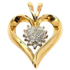 10k Solid Yellow White Gold and Diamond Heart Shaped Pendant