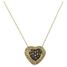 10k Yellow Gold and .73ctw Diamonds Necklace and Heart Pendant 18 Inches