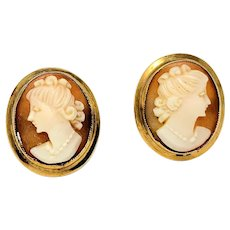 14k Yellow Gold Vintage Carved Cameo Stud Screw Back Earrings