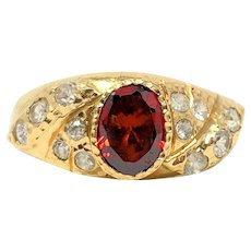 18k Yellow Gold Vintage Red and Clear Cubic Zirconia Ring Size 6.5