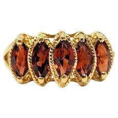 10k Yellow Gold Vintage Marquise Cut Garnet Samuel Aaron THL Ring Size 6
