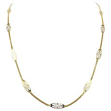 """18k Yellow Gold Ladies Curb Link Station Chain Necklace UnoAErre Italy 23.5"""""""