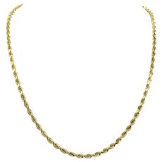 14k Yellow Gold 16.3g Solid 3mm Rope Chain Necklace 21.5 Inches