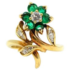 18k Yellow Gold Antique Diamond and Natural Emeralds Floral Ring Size 6