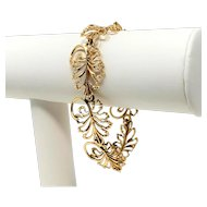 14k Yellow Gold Vintage Peruzzi Leaf Motif Link Bracelet 7 Inches