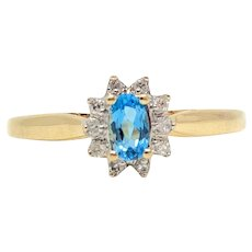10k Yellow Gold Blue Topaz and Diamond Halo Ring Size 8