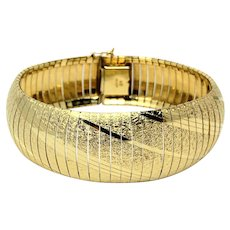 """14k Solid Yellow Gold 40g Heavy Wide Diamond Cut Omega Link Bracelet Italy 7.25"""""""