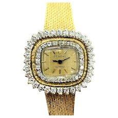 14k Solid Yellow Gold and 1ct Diamond Geneve Quartz Ladies Watch