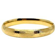 14k Yellow Gold 12.3g Vintage Satin Finish Bangle Bracelet 7 Inches
