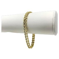 14k Yellow Gold Hollow Diamond Cut Double Rope Chain Bracelet 7.25 Inches