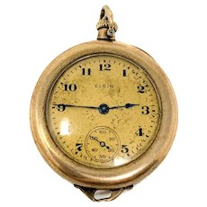 14k Gold 1896 Elgin Pocket Watch 6s Hunter Case 7 Jewels Runs Perfect