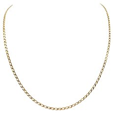 14k Yellow Gold Thin Curb Link Chain Necklace 20.5 Inches
