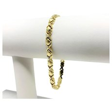 14k Yellow Gold Hugs and Kisses XO Link Bracelet Italy 7 Inches