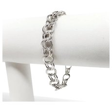 14k White Gold Double Circle Link Charm Bracelet 6.5 Inches