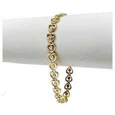 14k Beverly Hills Yellow Gold Fancy Heart Link Bracelet 7 Inches