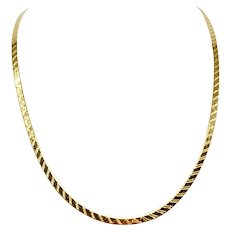 """14k Yellow Gold Etched Herringbone Link Chain Necklace Italy 24"""""""