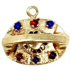 14k Yellow Gold Red and Blue Stone Vintage Telephone Charm Bracelet Charm