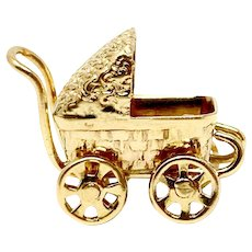 14k Yellow Gold Vintage Baby Carriage Stroller Charm Bracelet Charm