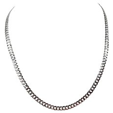 """14k Solid White Gold 14g Diamond Cut 5mm Curb Link Chain Necklace Italy 19.5"""""""