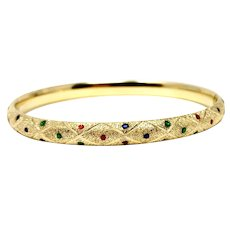 14k Yellow Gold Red Blue and Green Enamel Hinged Bangle Bracelet 7 Inches