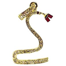18k Yellow Gold .75ctw Diamond and Natural Ruby Custom Made Snake Pendant