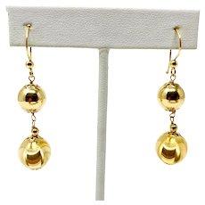 18k Yellow Gold Vintage Milor Brand Dangle Drop Ball Fish Hook Earrings Italy