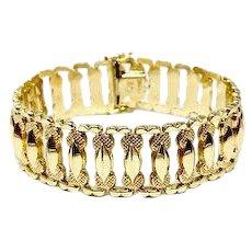 14k Yellow Gold Italian 17.4g Wide Fancy Link Aurafin Bracelet 7.25 Inches