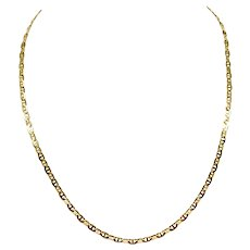 10k Yellow Gold Thin Gucci Anchor Mariner Link Chain Necklace Italy 21 Inches