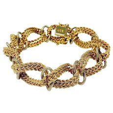 """18k Fine Yellow and White Gold 44.8g Fancy Rope Oval Link Bracelet Italy 7.75"""""""