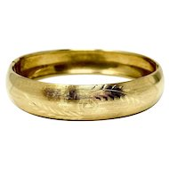 14k Yellow Gold Vintage Floral Etched Engraved Hinged Bangle Bracelet Italy 7.5""