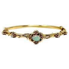 14k Yellow Gold Vintage Opal and Diamond Bangle Bracelet 6.5 Inches