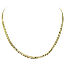 """14k Yellow Gold Etched Diamond Cut Herringbone Link Chain Necklace Italy 18"""""""