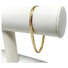 "14k Yellow Gold Diamond Cut Etched Herringbone Link Chain Bracelet Italy 7.25"""