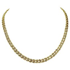 14k Yellow Gold Hollow 6mm Double Rope Chain Necklace 17 Inches