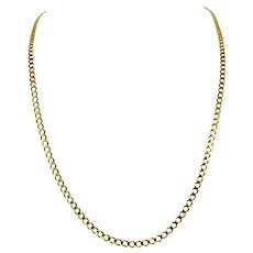 14k Solid Yellow Gold 3.5mm Curb Link Chain Necklace Italy 25 Inches