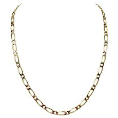 14k Solid Yellow Gold 5.5mm Figaro Link 26.5g Chain Necklace Italy 22.5 Inches