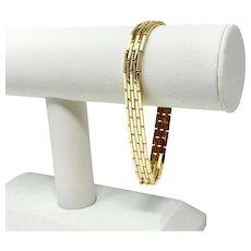 "18k Yellow Gold 40g Fancy Brick Link Style Chain Bracelet 7.75"" or 8"""