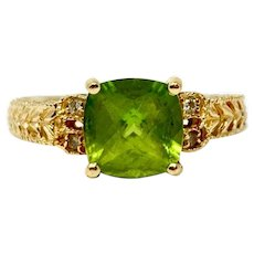 14k Yellow Gold Vintage Peridot and Diamond Ring Size 7