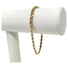 14k Solid Yellow Gold 12.2g Rope Chain Bracelet 7.75 Inches