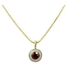 David Yurman DY 18k Yellow Gold Pink Tourmaline and Diamond Pendant Necklace