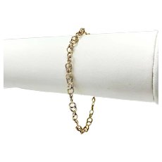 14k Yellow Gold Thin Light Double Link Chain Charm Bracelet 7 Inches