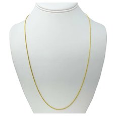14k Yellow Gold Diamond Cut Thin 1.2mm Rope Chain Necklace Aurafin 24 Inches