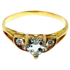 10k Yellow Gold Heart Cut Aquamarine and Cubic Zirconia Ring Size 7