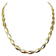 18k Fine Yellow Gold Fancy Link 24.8g Chain Necklace Italy 20.5 Inches