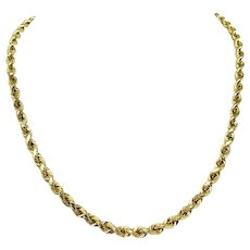 14k Yellow Gold Hollow 4.2mm Diamond Cut Rope Chain 10g Necklace 18 Inches