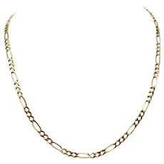 14k Yellow Gold Hollow 4mm Figaro Link 7.1g Chain Necklace Italy 20 Inches